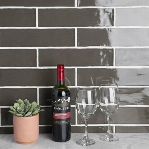 SomerTile 3x12-inch Gloucester Grafito Ceramic Wall Tile (22 tiles/5.5 sqft.)