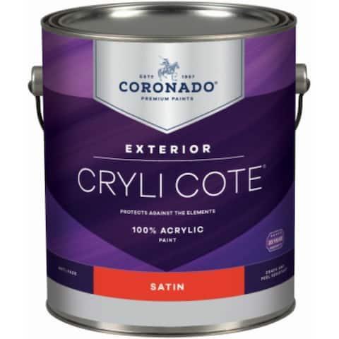 Coronado 410-34-4 Cryli Cote 100% Acrylic Exterior Paint, Satin, Deep Base, 1 Qt
