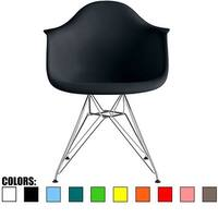 2xhome Designer Dining Chair Armchair With ArmSilver Wire Chrome Base For Kitchen Desk Work Office Conference Room