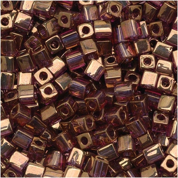 Miyuki 4mm Glass Cube Beads Cranberry Gold Luster Color 2441 10 Grams