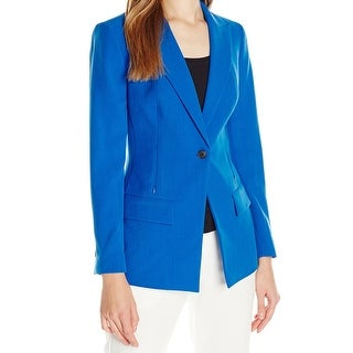 Anne Klein NEW Blue Women's Size 14 Notched-Collar Seamed Solid Jacket