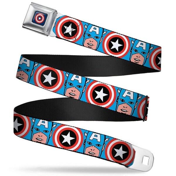 Marvel Comics captain America Shield Full Color Navy Captain America Face Seatbelt Belt
