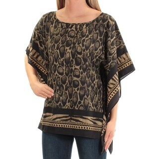 MICHAEL KORS Womens Green Animal Print Kimono Sleeve Scoop Neck Top Petites Size: XS