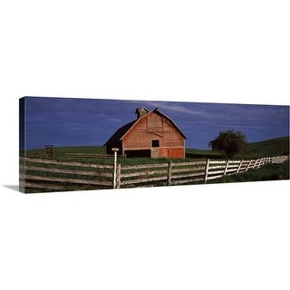 """""""Old barn with a fence in a field, Palouse, Whitman County, Washington State,"""" Canvas Wall Art"""