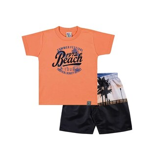 Toddler Boy Outfit Graphic Tee Shirt and Shorts Set Pulla Bulla Sizes 1-3 Years (Option: orange / 3 years - Cotton)