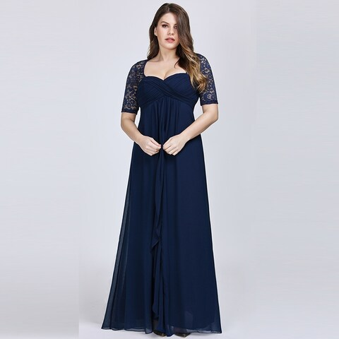 Ever-Pretty Women's Plus Size Lace Mother of the Bride Wedding Party Maxi Dress 07625