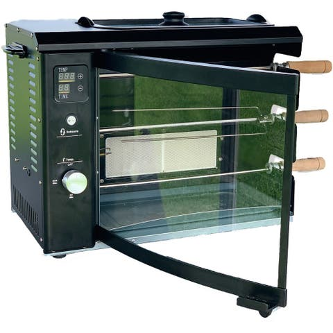 Brazilian Flame Brazilian Gas Rotisserie Grill with 3 Skewers, Black