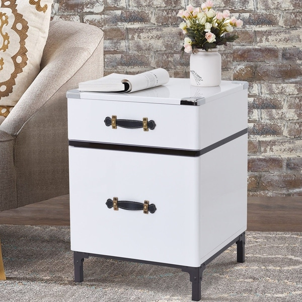 Gymax Modern 2-Drawer Coffee End Table NightStand Sofa Side Square Storage Organizer - as pic