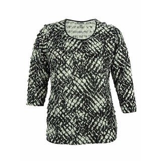 JM Collection Women's 3/4 Sleeve Ruffled Embellished Top - cubic tile - 0X