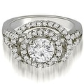 1.65 cttw. 14K White Gold Double Halo Round Cut Diamond Engagement Ring - Thumbnail 0