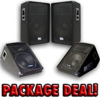 """Pair 15"""" PA/DJ Speakers ~ Pair 12"""" Floor/Stage Monitors"""