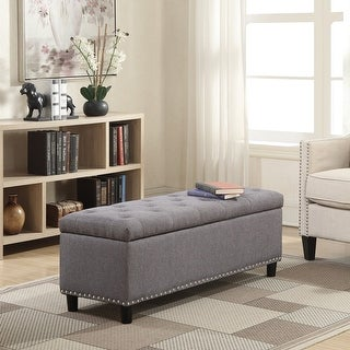 "Belleze 48"" Rectangular Gray Storage Fabric Ottoman Bench Tufted Footrest Lift Top"