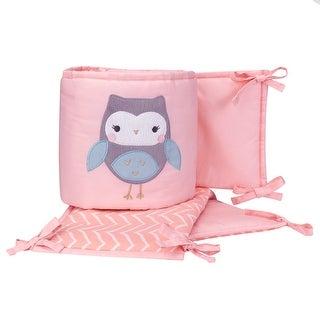 Lambs & Ivy Sweet Owl Dreams Pink Chevron 4-Piece Baby Crib Bumper Pads