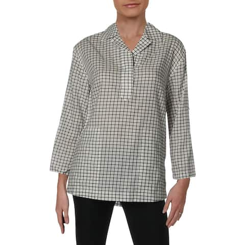 Donna Karan Womens Pullover Top Flannel Collar