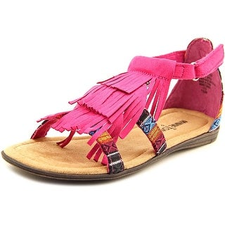 Minnetonka Maya Youth Open Toe Canvas Pink Gladiator Sandal