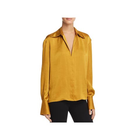Theory Womens Blouse Spread Collar Pleated
