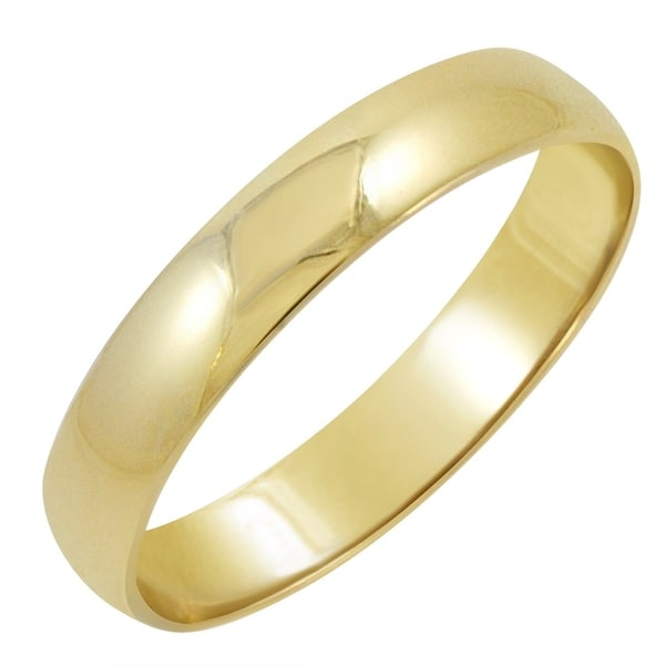 Men S 14k Yellow Gold 4mm Classic Fit Plain Wedding Band Available Ring Sizes 8 12 1 2