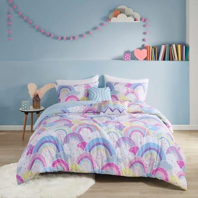 Lucy Printed Rainbow Cotton Reversible Comforter Set by Urban Habitat Kids