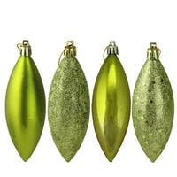 "8ct Green Kiwi Shatterproof 4-Finish Finial Drop Christmas Ornaments 5.5"""