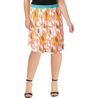 Modamix Womens Plus Pleated Skirt Floral Print Sheer