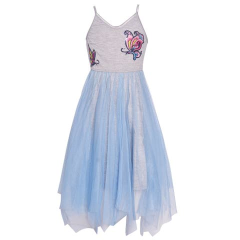 Girls Blue Gray Butterfly Detail Overlaid Angled Hem Casual Dress