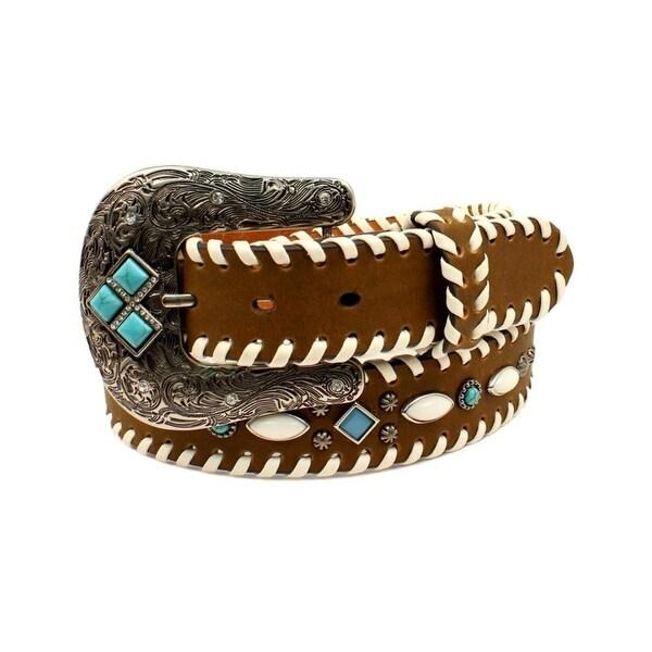 Nocona Western Belt Womens Ivory Turquoise Stones Starbursts