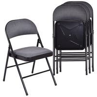 Costway Set of 4 Folding Chairs Fabric Upholstered Padded Seat Metal Frame Home Office - as pic