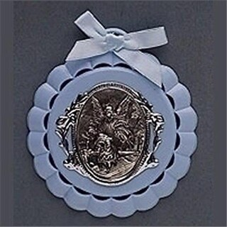 Roman 194692 Cradle Medal-Baptism-Blue - 4.25 in. Boxed