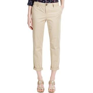 Tommy Hilfiger Womens Khaki Pants Woven Flat Front