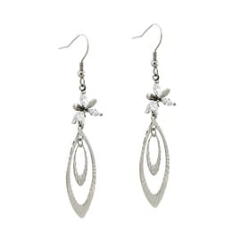 Stainless Steel Floral Dangle Leaf Earrings