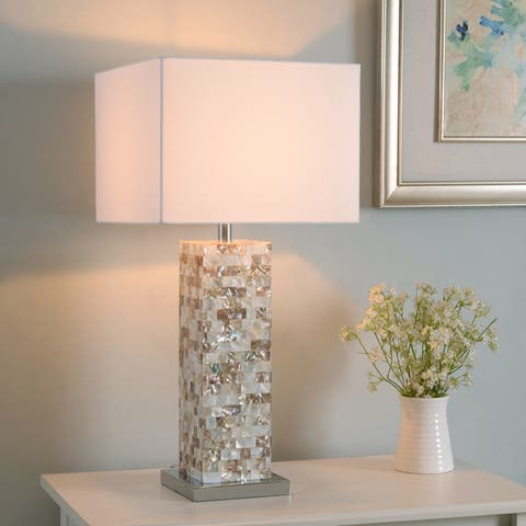 Strick & Bolton Brice Mother of Pearl Finish 30-inch Table Lamp
