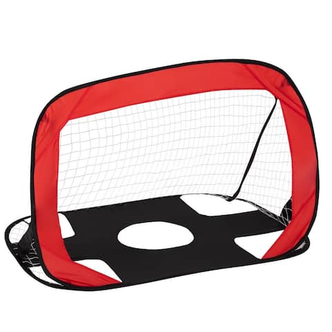 Portable 2 in 1 Pop up Kids Soccer Goal Net with Carry Bag - Red