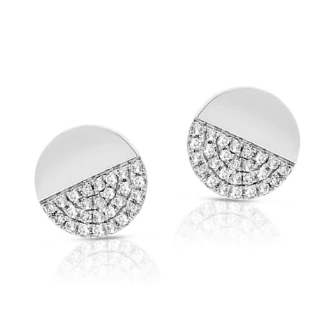 Diamond Disc Stud Earring 14K White Gold