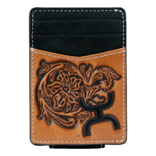 HOOey Western Wallet Mens Money Clip Signature Magnetic Black 623462MB - 2 3/4 x 1/8 x 4