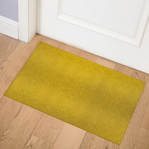 GODS EYE BLOCK PRINT MUSTARD Indoor Floor Mat by Kavka Designs