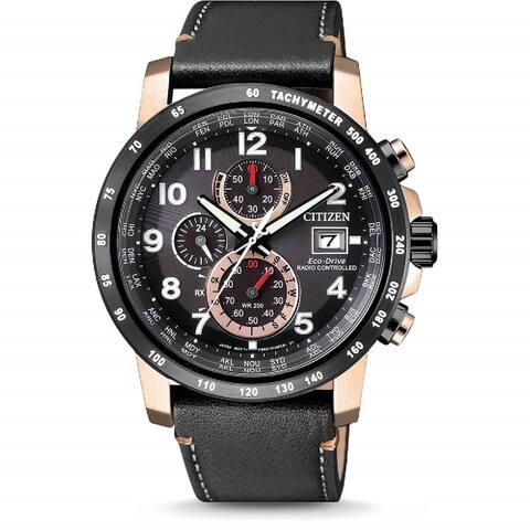 Citizen Men's AT8126-02E 'Eco-Drive' Chronograph Black Leather Watch - Multi