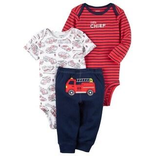 Carter's Baby Boys' 3 Piece Firetruck Turnaround Pant Set