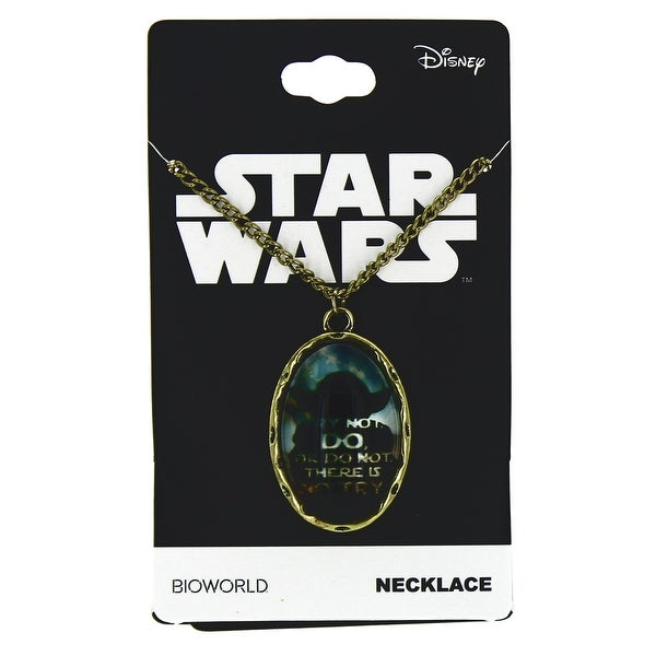 """Star Wars Yoda """"Try Not"""" Cameo Necklace"""