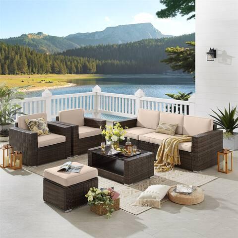 7 Piece Patio Furniture Set PE Wicker Rattan Sectional Sofa