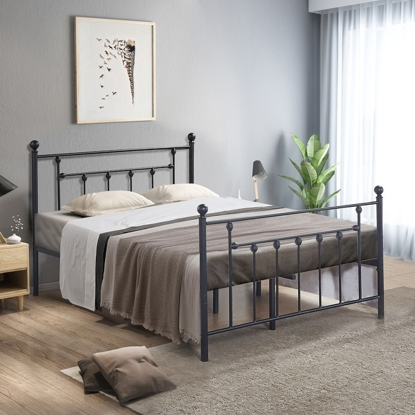 VECELO Beds Queen/Full/Twin Size Victorian Metal Platform Beds,Kids Beds Box Spring Replacement with Headboard