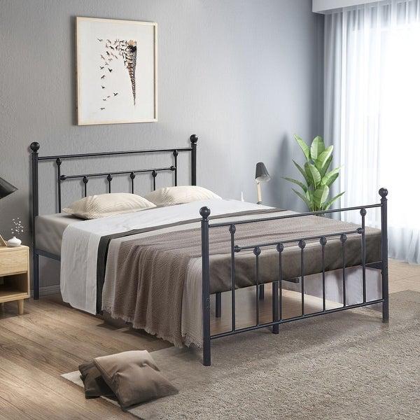 shop vecelo beds queen full twin size victorian metal platform beds kids beds box spring. Black Bedroom Furniture Sets. Home Design Ideas