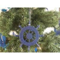 6 in. Rustic Dark Blue Decorative Ship Wheel Christmas Tree Ornament