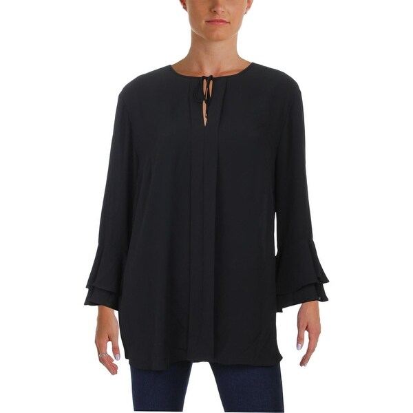 80b1b00fdbf3 Shop Lauren Ralph Lauren Womens Blouse Bell Sleeves Necktie - l ...
