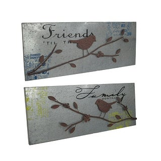 Set of 2 Metal Friends and Family Songbird Wall Hangings