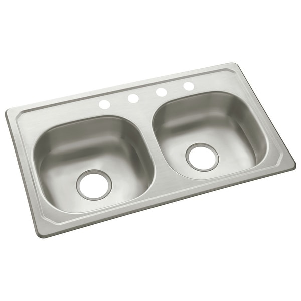 """Sterling 14619-4 33"""" Double Basin Drop In Stainless Steel Kitchen Sink with SilentShield® - Stainless Steel"""