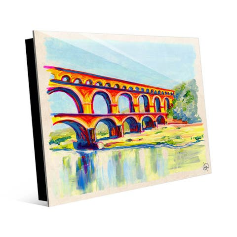 Kathy Ireland Colorful Pont Du Gard France on Acrylic Wall Art Print