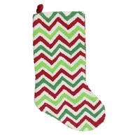 "21"" Plush Loop Knit and Velveteen Red, White and Green Chevron Patterned Christmas Stocking"