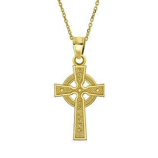 14K Yellow Gold Celtic Cross Pendant 18 in Yellow Gold Chain Necklace