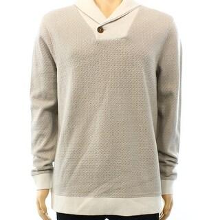 Tasso Elba NEW Beige Mens Size 2XL Geo-Knit Shawl Collar Sweater