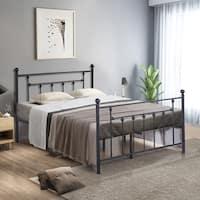 VECELO Beds Queen Full Twin Size Victorian Metal Platform Beds d97ce0489f